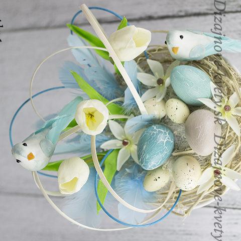 Jarný dizajn s vtáčikmi a vajíčkami.
