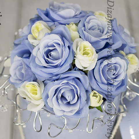 Flower box v modrom odtieni